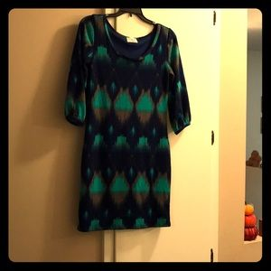 Navy and teal long sleeve dress